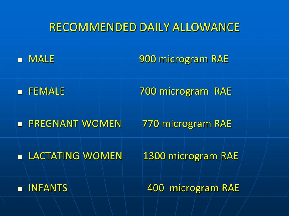 RECOMMENDED DAILY ALLOWANCE MALE 900 microgram RAE MALE 900 microgram RAE FEMALE 700 microgram RAE FEMALE 700 microgram RAE PREGNANT WOMEN 770 microgr