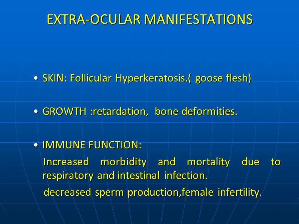 EXTRA-OCULAR MANIFESTATIONS SKIN: Follicular Hyperkeratosis.( goose flesh)SKIN: Follicular Hyperkeratosis.( goose flesh) GROWTH :retardation, bone def