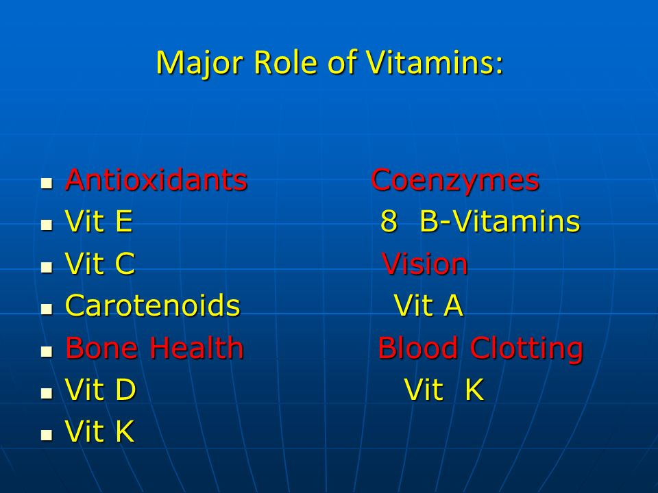 VITAMIN-A (The Retinoids) Three active (03) Forms: Three active (03) Forms: Retinol The alcohol form (KEY PLAYER) Retinol The alcohol form (KEY PLAYER) (reproduction& bone health) (reproduction& bone health) Retinal The aldehyde form Retinal The aldehyde form (night & color vision) (night & color vision) Retinoic acid The acid form Retinoic acid The acid form (cell growth & differentiation) (cell growth & differentiation)
