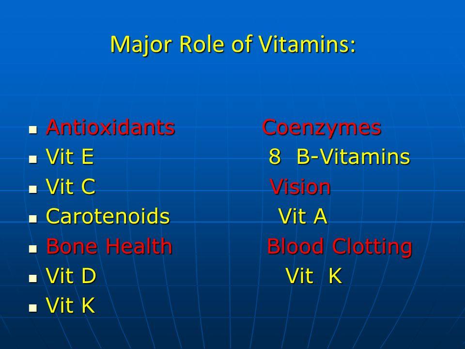 Major Role of Vitamins: Antioxidants Coenzymes Antioxidants Coenzymes Vit E 8 B-Vitamins Vit E 8 B-Vitamins Vit C Vision Vit C Vision Carotenoids Vit