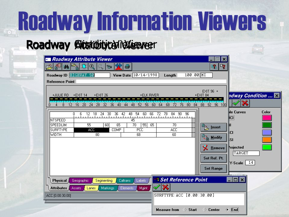 Roadway Information Viewers Roadway History Viewer Roadway Condition Viewer Roadway Attribute Viewer