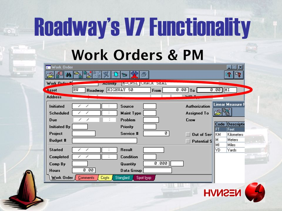 Work Orders & PM Roadways V7 Functionality