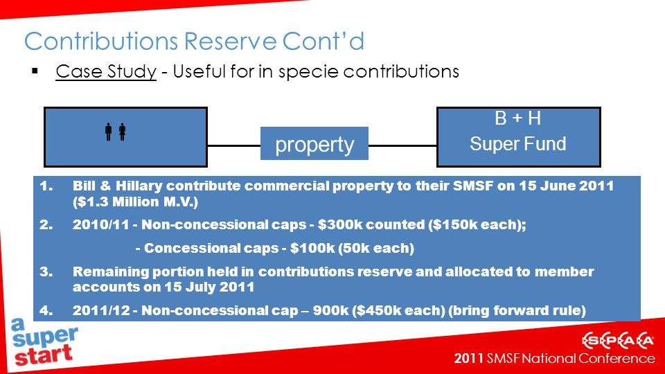 2011 SMSF National Conference property B + H Super Fund Contributions Reserve Contd Case Study - Useful for in specie contributions 1.Bill & Hillary contribute commercial property to their SMSF on 15 June 2011 ($1.3 Million M.V.) 2.2010/11 - Non-concessional caps - $300k counted ($150k each); - Concessional caps - $100k (50k each) 3.Remaining portion held in contributions reserve and allocated to member accounts on 15 July 2011 4.2011/12 - Non-concessional cap – 900k ($450k each) (bring forward rule)