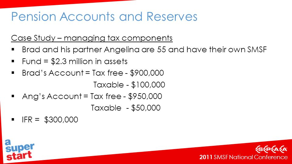 2011 SMSF National Conference Pension Accounts and Reserves Case Study – managing tax components Brad and his partner Angelina are 55 and have their own SMSF Fund = $2.3 million in assets Brads Account = Tax free - $900,000 Taxable - $100,000 Angs Account = Tax free - $950,000 Taxable - $50,000 IFR = $300,000