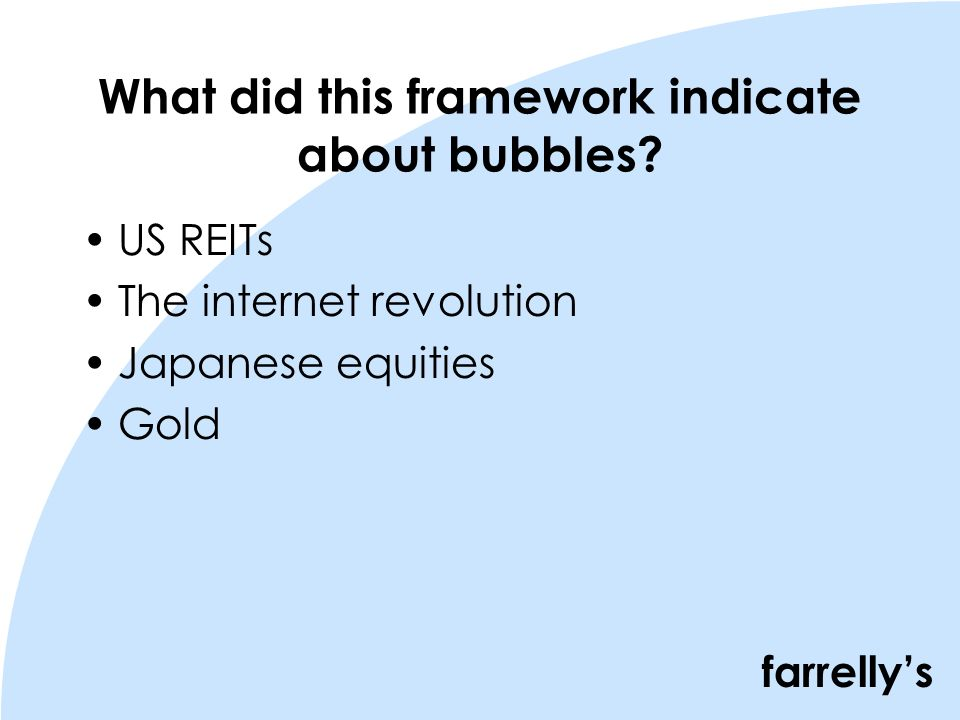 farrellys What did this framework indicate about bubbles.