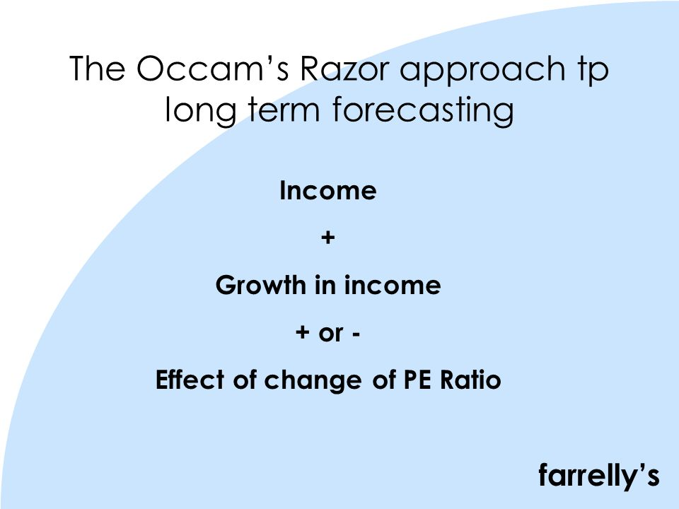 farrellys The Occams Razor approach tp long term forecasting Income + Growth in income + or - Effect of change of PE Ratio