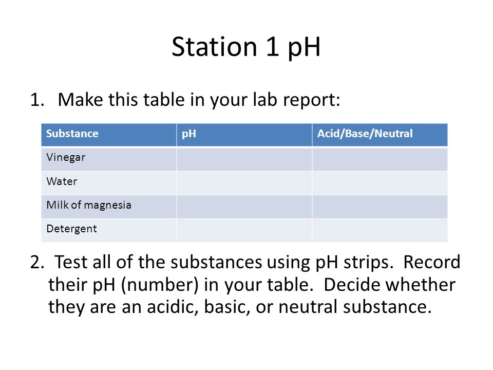 Station 1 pH 1.Make this table in your lab report: 2. Test all of the substances using pH strips. Record their pH (number) in your table. Decide wheth