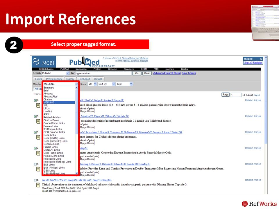 Import References Select proper tagged format. 2