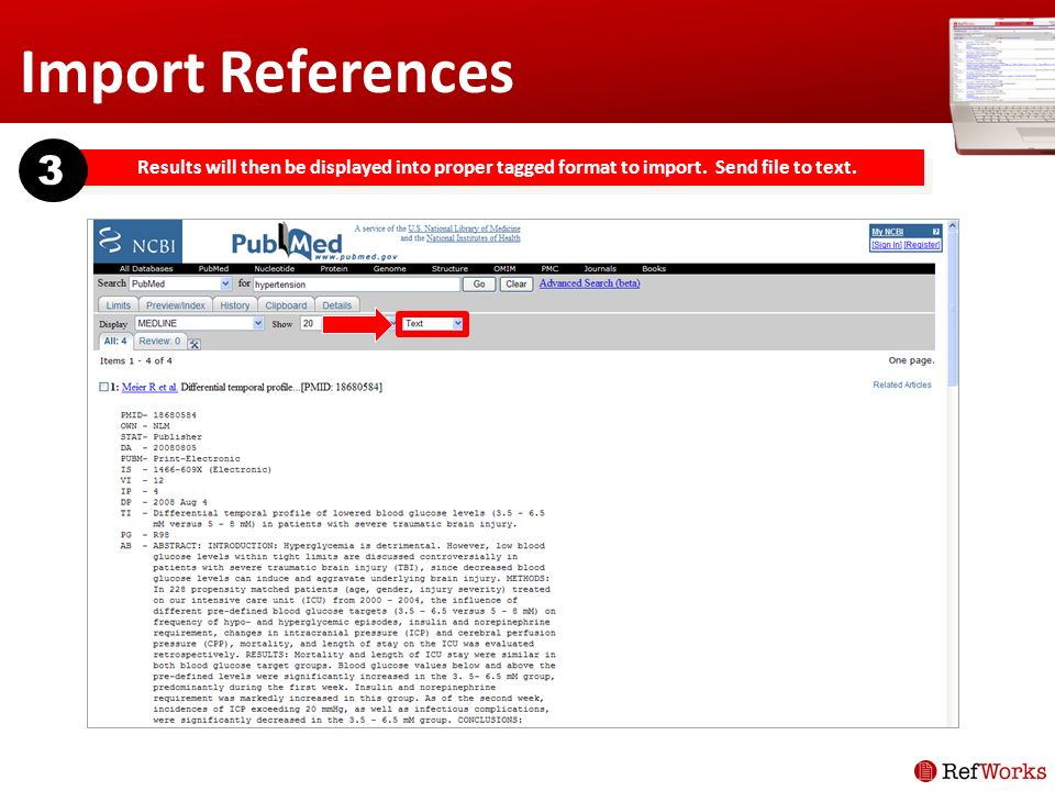 Import References Results will then be displayed into proper tagged format to import.