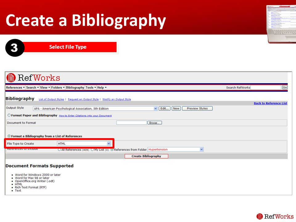 Create a Bibliography Select File Type 3