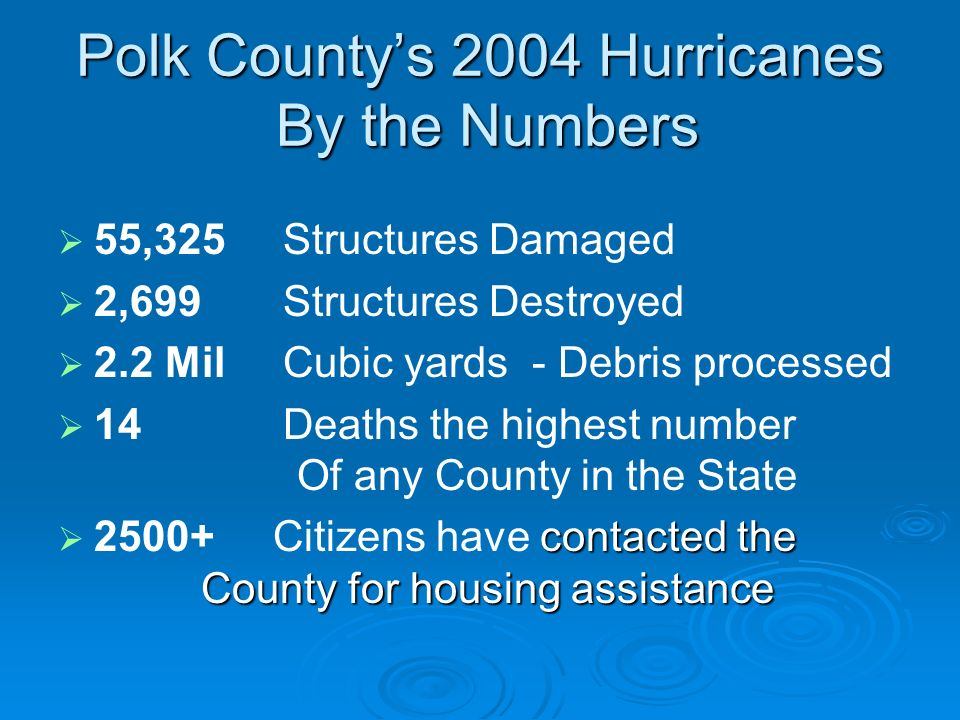 Polk Countys 2004 Hurricanes By the Numbers 55,325 Structures Damaged 2,699 Structures Destroyed 2.2 Mil Cubic yards - Debris processed 14 Deaths the highest number Of any County in the State contacted the County for housing assistance Citizens have contacted the County for housing assistance