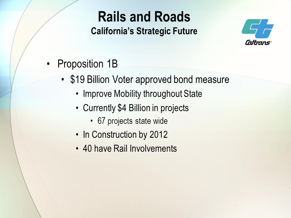 Rails and Roads Californias Strategic Future Proposition 1B $19 Billion Voter approved bond measure Improve Mobility throughout State Currently $4 Billion in projects 67 projects state wide In Construction by have Rail Involvements