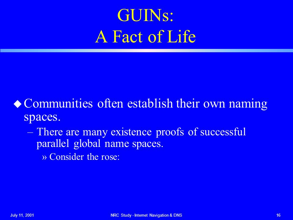 July 11, 2001NRC Study - Internet Navigation & DNS16 GUINs: A Fact of Life u Communities often establish their own naming spaces.