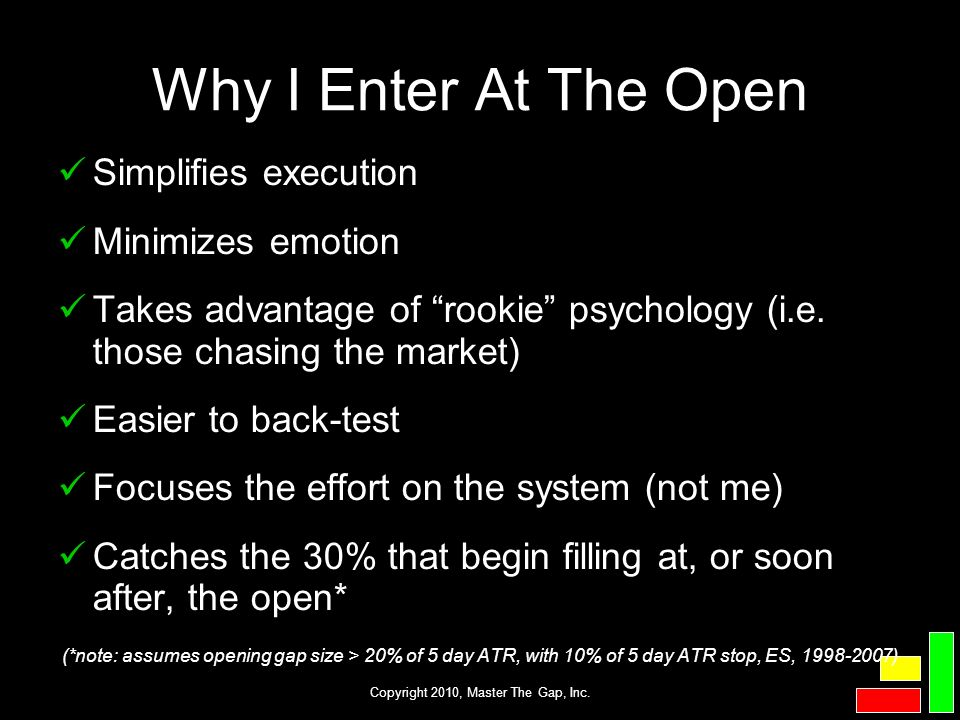 Copyright 2010, Master The Gap, Inc. Why I Enter At The Open Simplifies execution Minimizes emotion Takes advantage of rookie psychology (i.e. those c