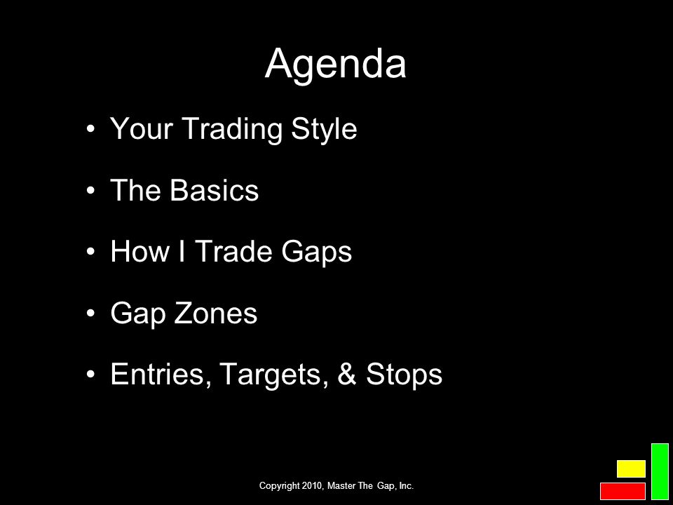 Copyright 2010, Master The Gap, Inc. Agenda Your Trading Style The Basics How I Trade Gaps Gap Zones Entries, Targets, & Stops