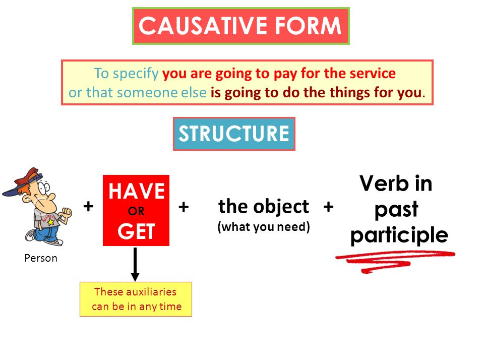 CAUSATIVE FORM To specify you are going to pay for the service or that someone else is going to do the things for you. STRUCTURE + HAVE OR GET the obj
