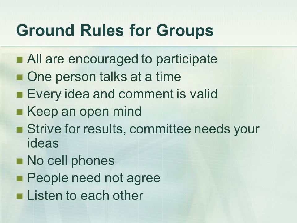 Ground Rules for Groups All are encouraged to participate One person talks at a time Every idea and comment is valid Keep an open mind Strive for results, committee needs your ideas No cell phones People need not agree Listen to each other