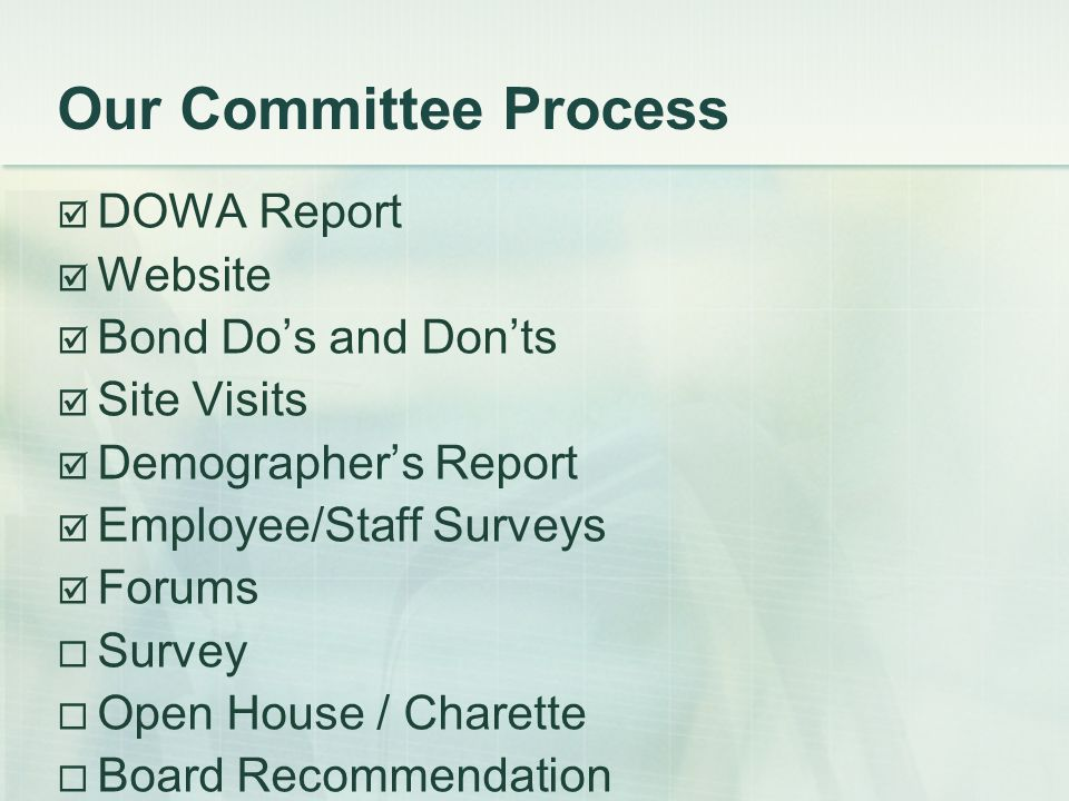 Our Committee Process DOWA Report Website Bond Dos and Donts Site Visits Demographers Report Employee/Staff Surveys Forums Survey Open House / Charette Board Recommendation