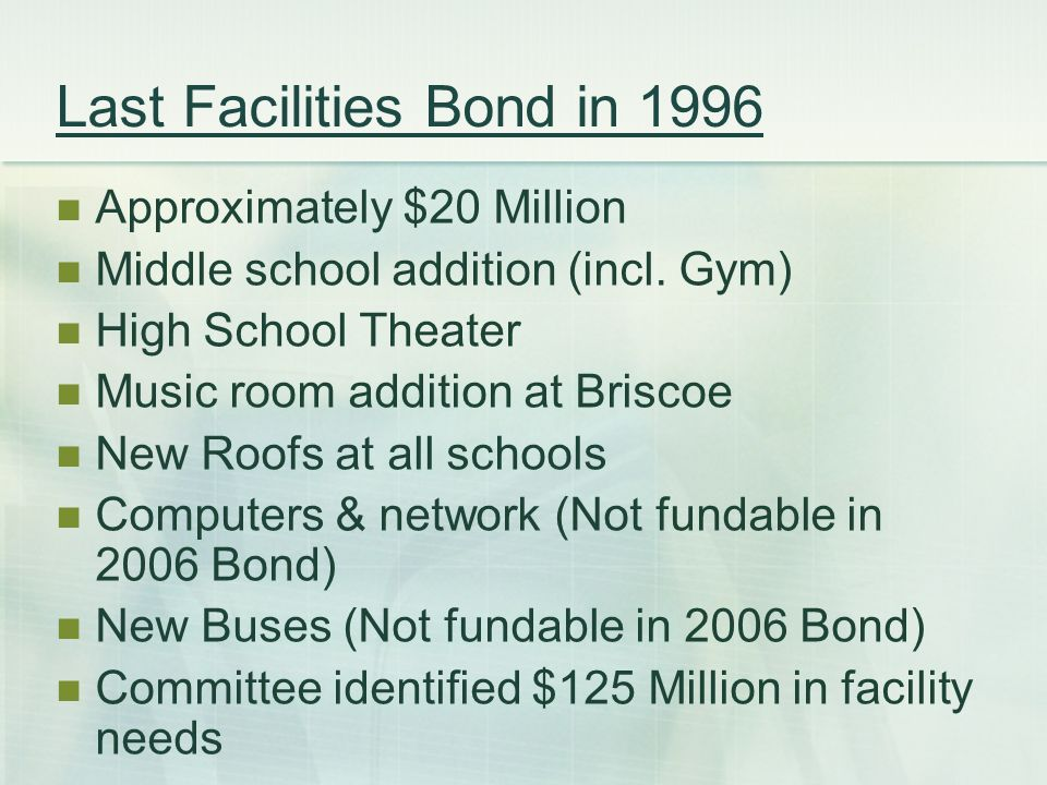 Last Facilities Bond in 1996 Approximately $20 Million Middle school addition (incl.