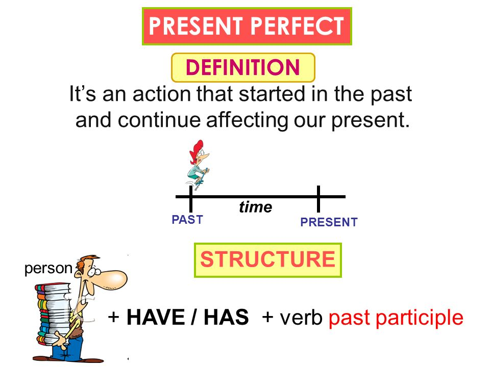 PRESENT PERFECT DEFINITION Its an action that started in the past and continue affecting our present. STRUCTURE person + HAVE / HAS + verb past partic