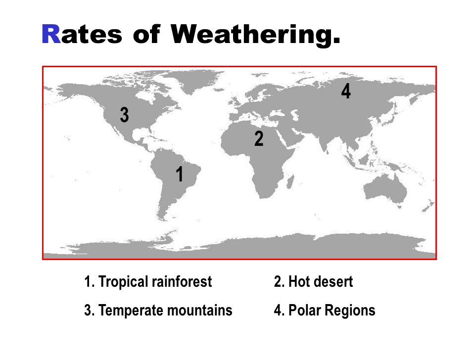 Rates of Weathering. 1 2 4 3 1. Tropical rainforest 2. Hot desert 3. Temperate mountains 4. Polar Regions