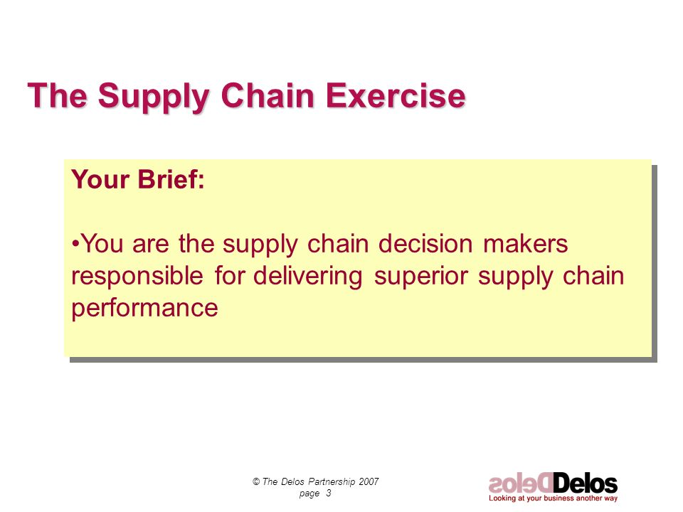 © The Delos Partnership 2007 page 3 The Supply Chain Exercise Your Brief: You are the supply chain decision makers responsible for delivering superior supply chain performance Your Brief: You are the supply chain decision makers responsible for delivering superior supply chain performance