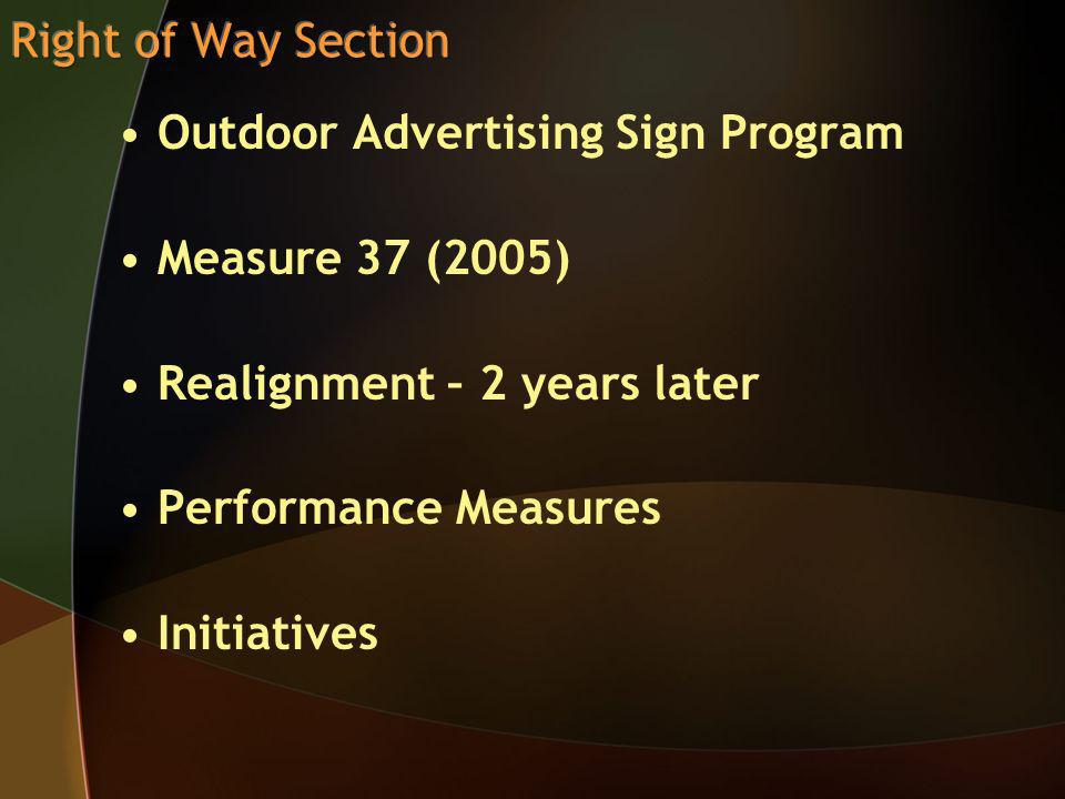 Outdoor Advertising Sign Program Measure 37 (2005) Realignment – 2 years later Performance Measures Initiatives