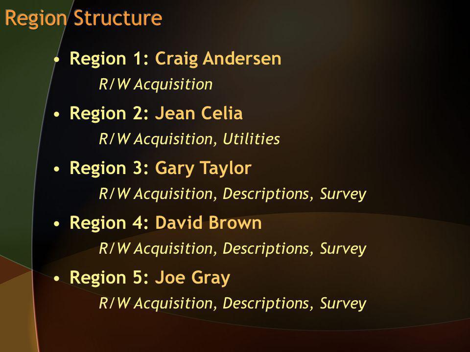 Region 1: Craig Andersen R/W Acquisition Region 2: Jean Celia R/W Acquisition, Utilities Region 3: Gary Taylor R/W Acquisition, Descriptions, Survey Region 4: David Brown R/W Acquisition, Descriptions, Survey Region 5: Joe Gray R/W Acquisition, Descriptions, Survey