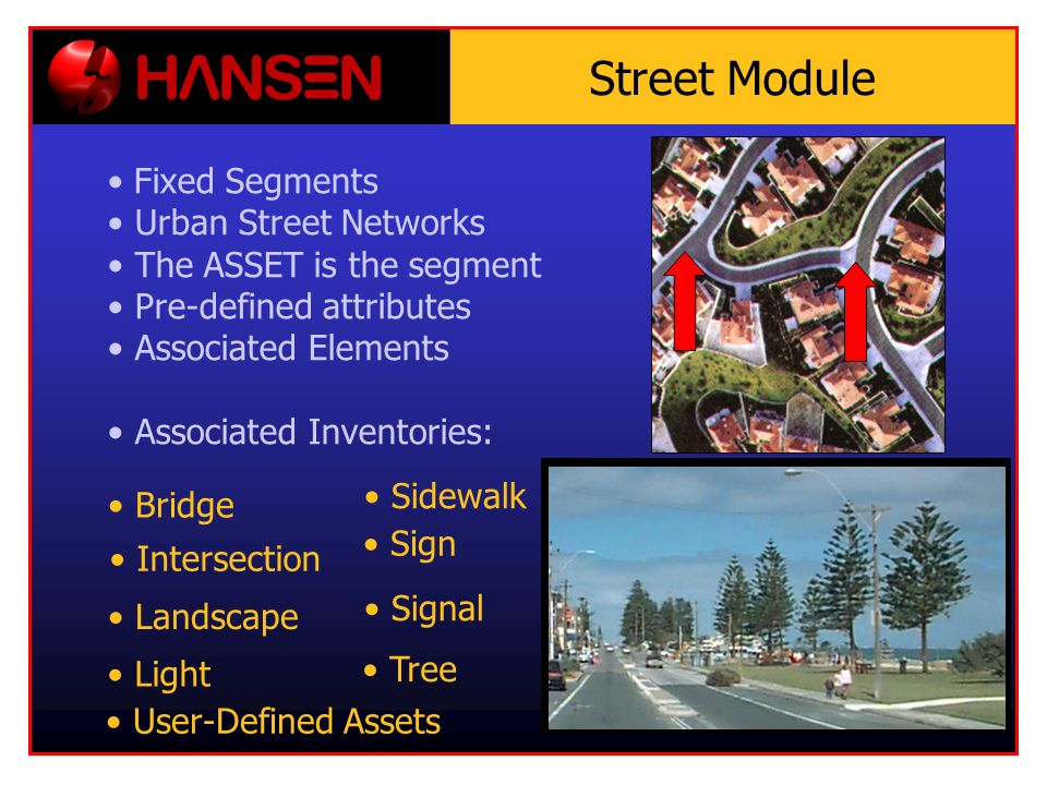 Street Module Bridge Fixed Segments Urban Street Networks The ASSET is the segment Pre-defined attributes Associated Elements Associated Inventories: