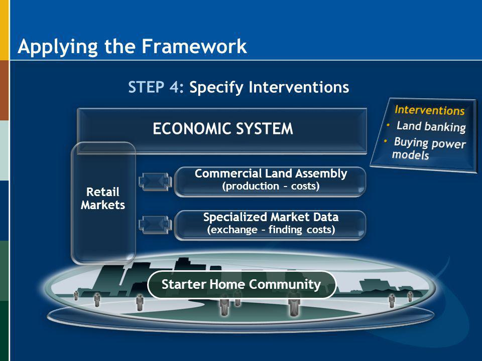 Applying the Framework STEP 4: Specify Interventions Starter Home Community Commercial Land Assembly (production – costs) Specialized Market Data (exc