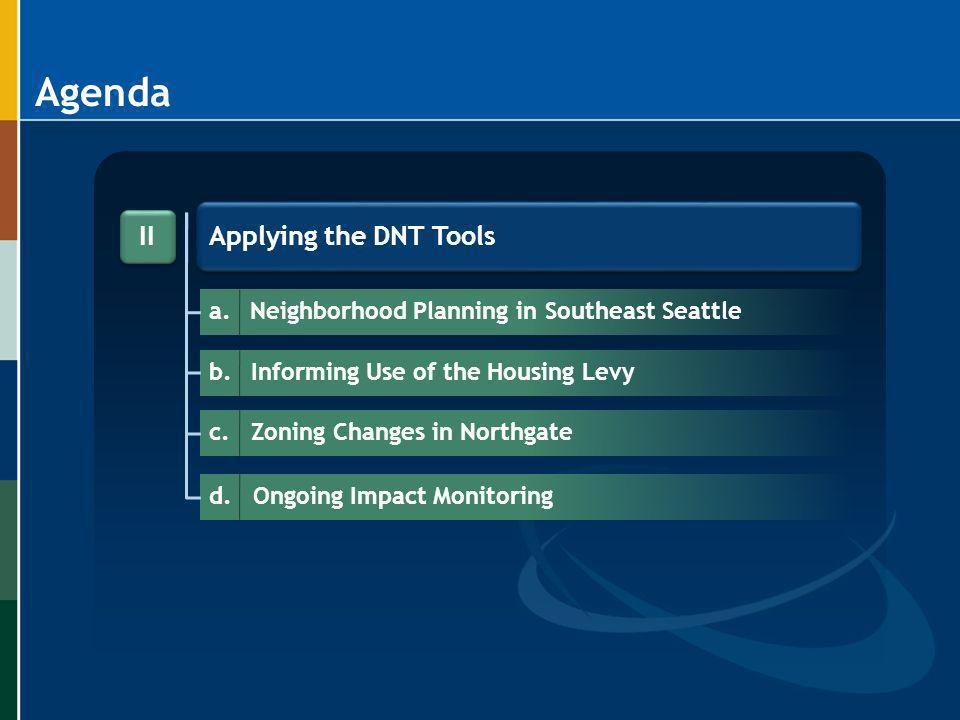Agenda Applying the DNT Tools II a.Neighborhood Planning in Southeast Seattle b.Informing Use of the Housing Levy c.Zoning Changes in Northgate d. Ong