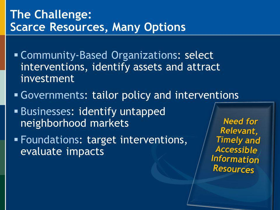 The Challenge: Scarce Resources, Many Options Community-Based Organizations: select interventions, identify assets and attract investment Governments: