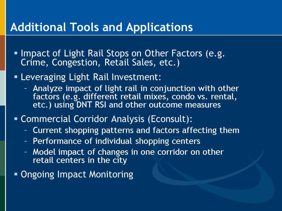 Additional Tools and Applications Impact of Light Rail Stops on Other Factors (e.g. Crime, Congestion, Retail Sales, etc.) Leveraging Light Rail Inves