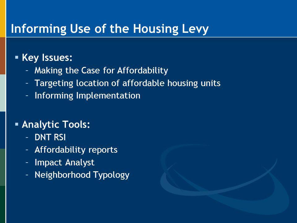 Informing Use of the Housing Levy Key Issues: –Making the Case for Affordability –Targeting location of affordable housing units –Informing Implementa