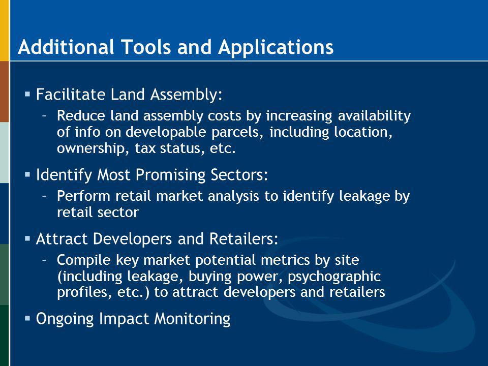 Additional Tools and Applications Facilitate Land Assembly: –Reduce land assembly costs by increasing availability of info on developable parcels, inc