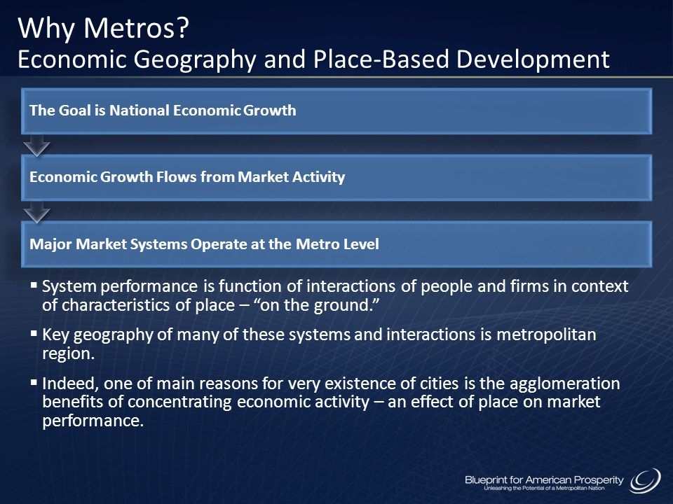 The Goal is National Economic Growth Economic Growth Flows from Market Activity Major Market Systems Operate at the Metro Level System performance is
