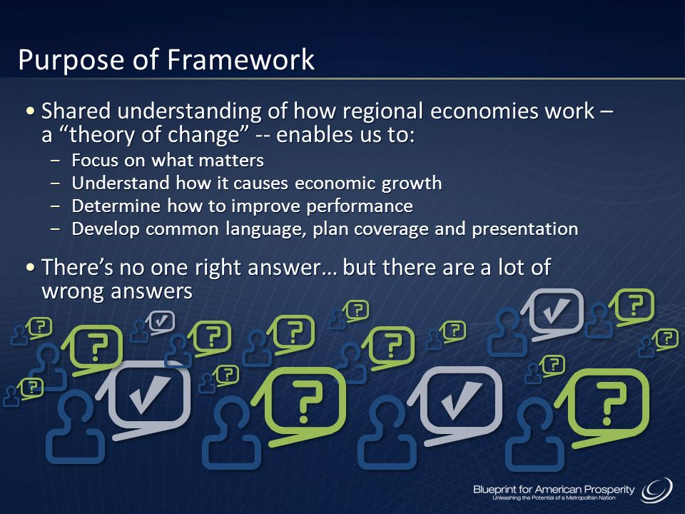 Purpose of Framework Shared understanding of how regional economies work – a theory of change -- enables us to: Focus on what matters Understand how i