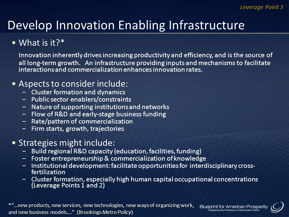 Develop Innovation Enabling Infrastructure What is it?* Innovation inherently drives increasing productivity and efficiency, and is the source of all