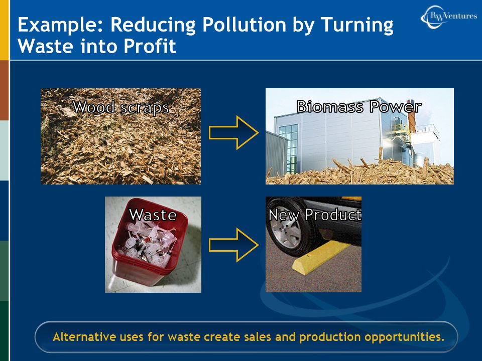 Example: Reducing Pollution by Turning Waste into Profit Alternative uses for waste create sales and production opportunities.