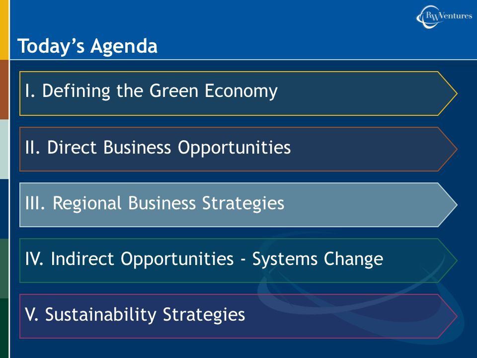 Todays Agenda I. Defining the Green Economy II. Direct Business Opportunities III.