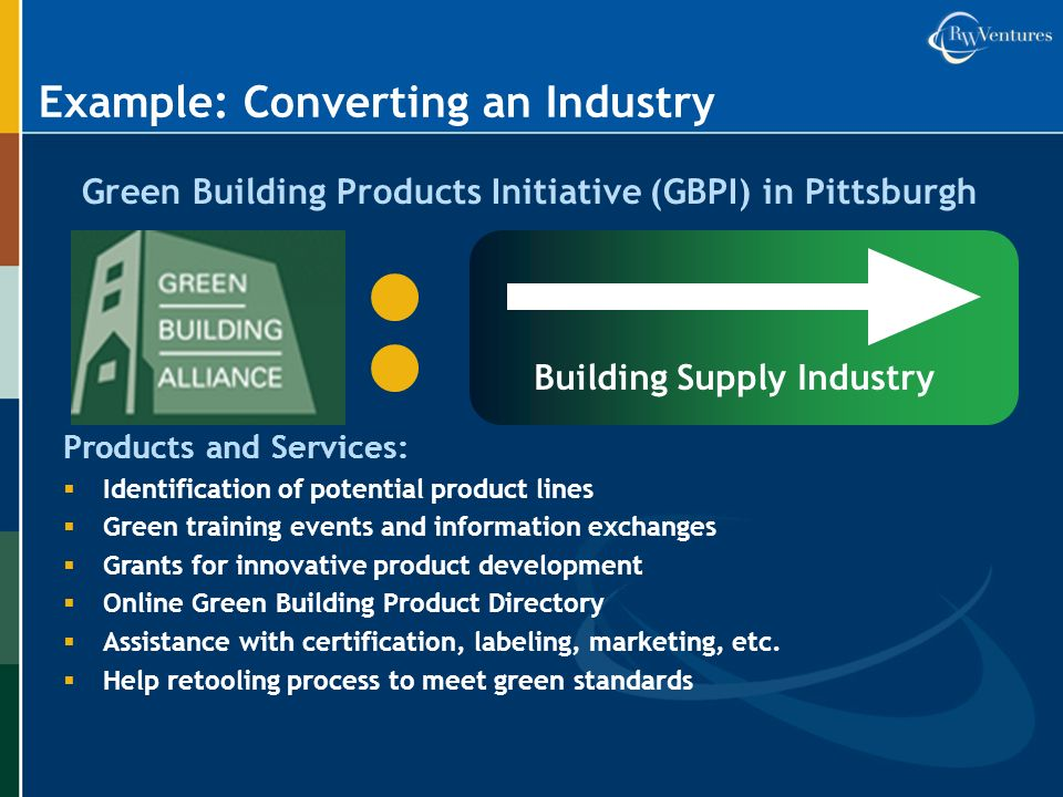 Example: Converting an Industry Green Building Products Initiative (GBPI) in Pittsburgh Building Supply Industry Products and Services: Identification of potential product lines Green training events and information exchanges Grants for innovative product development Online Green Building Product Directory Assistance with certification, labeling, marketing, etc.