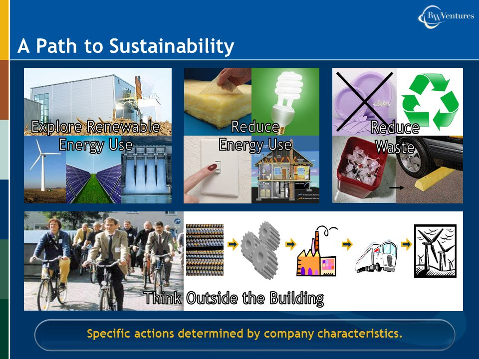 A Path to Sustainability Specific actions determined by company characteristics.