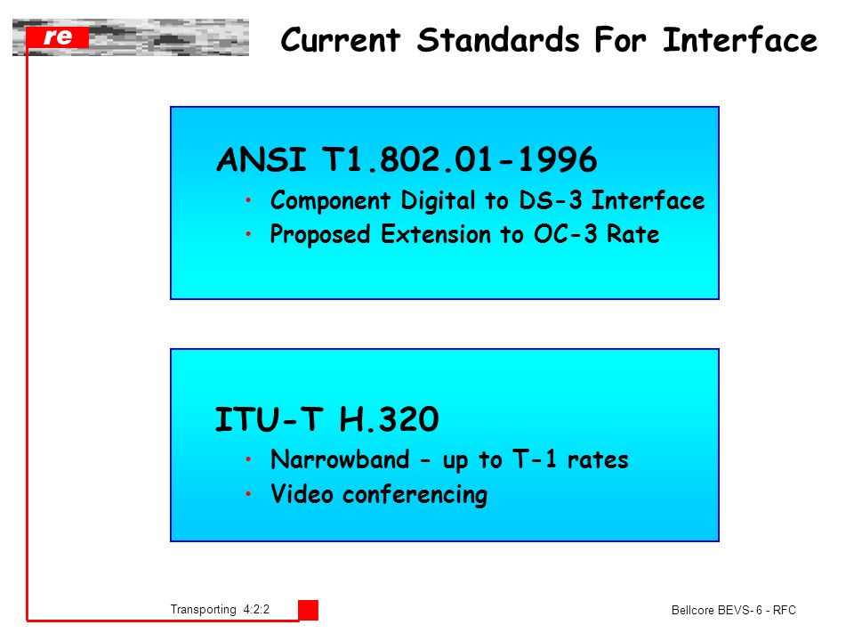 Transporting 4:2:2 Bellcore BEVS- 6 - RFC Current Standards For Interface ANSI T1.802.01-1996 Component Digital to DS-3 Interface Proposed Extension to OC-3 Rate ITU-T H.320 Narrowband - up to T-1 rates Video conferencing