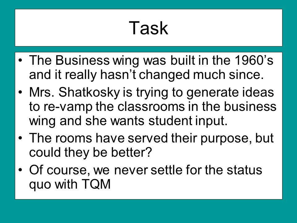 Task The Business wing was built in the 1960s and it really hasnt changed much since.