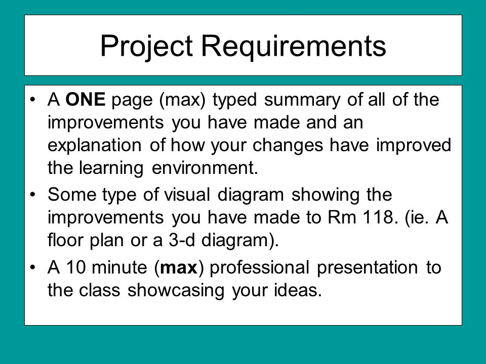 Project Requirements A ONE page (max) typed summary of all of the improvements you have made and an explanation of how your changes have improved the learning environment.