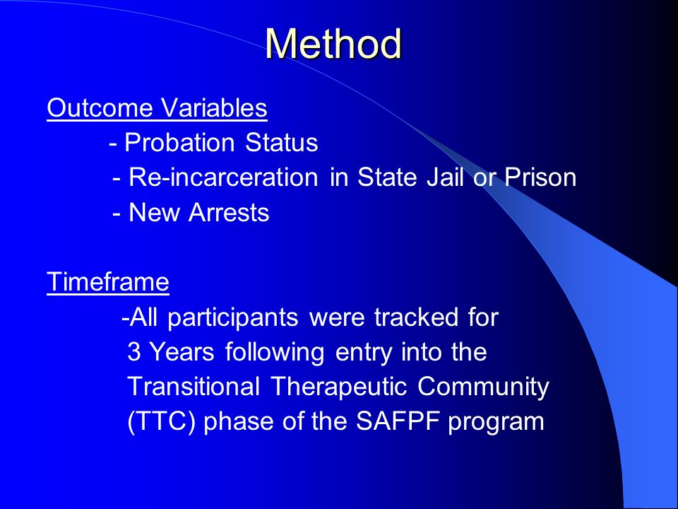 Method Outcome Variables - Probation Status - Re-incarceration in State Jail or Prison - New Arrests Timeframe -All participants were tracked for 3 Ye