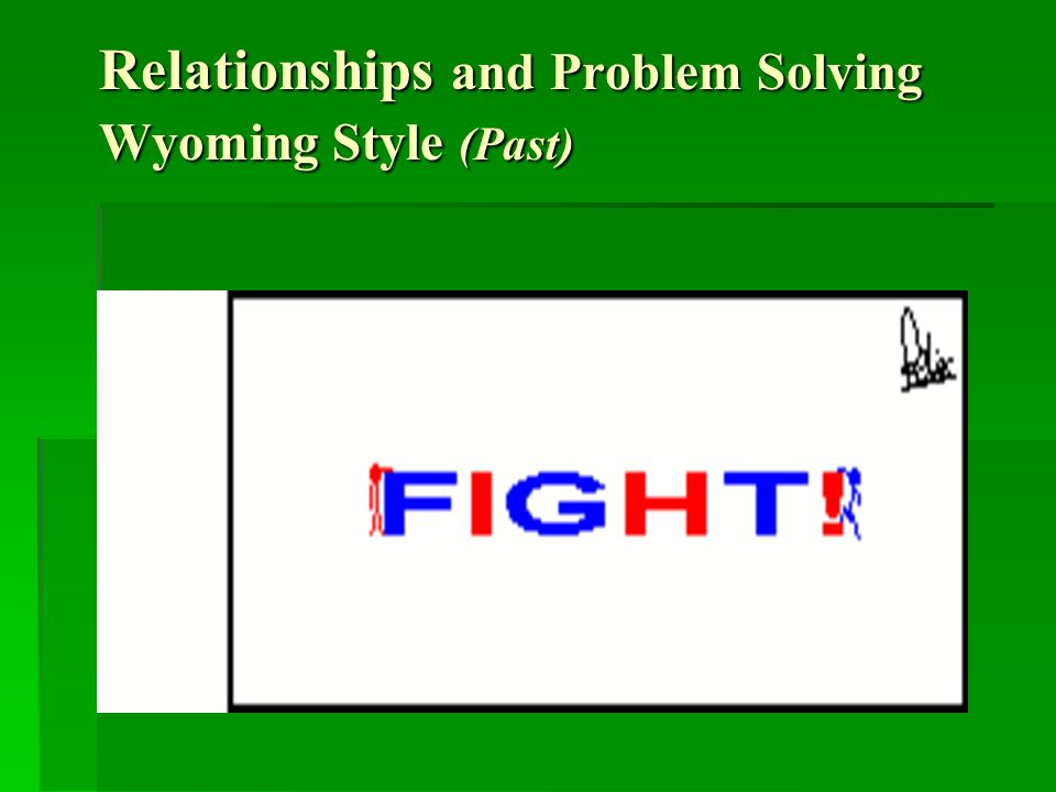 Relationships and Problem Solving Wyoming Style (Past)