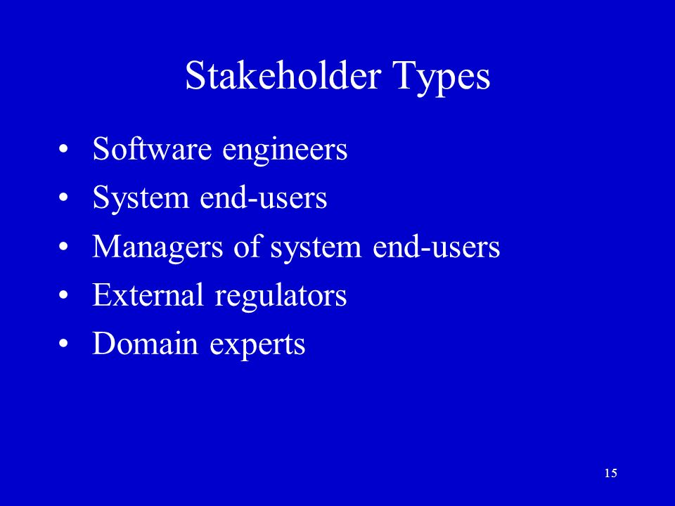 15 Stakeholder Types Software engineers System end-users Managers of system end-users External regulators Domain experts