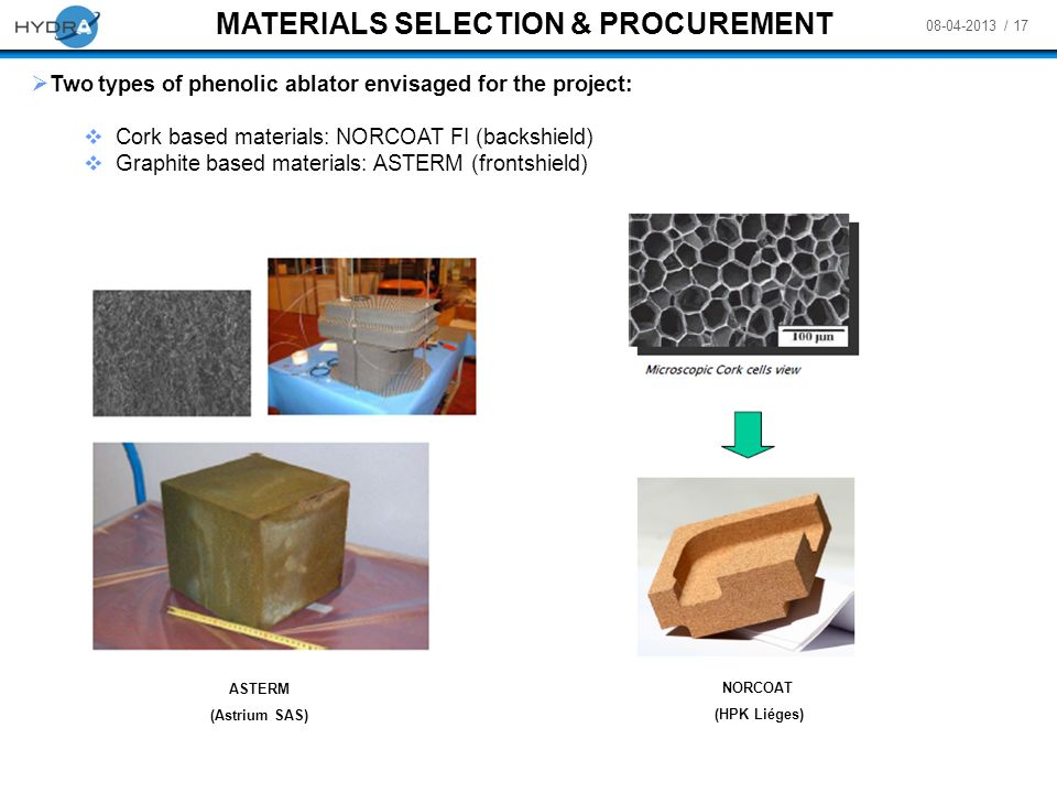 08-04-2013 / 17 MATERIALS SELECTION & PROCUREMENT Two types of phenolic ablator envisaged for the project: Cork based materials: NORCOAT FI (backshiel