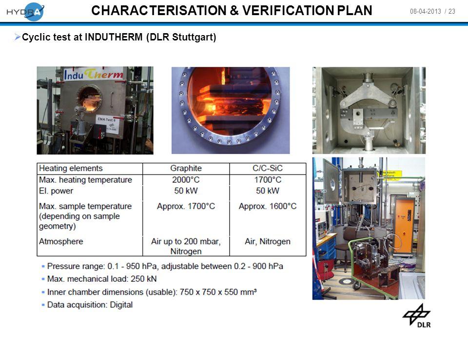 08-04-2013 / 23 CHARACTERISATION & VERIFICATION PLAN Cyclic test at INDUTHERM (DLR Stuttgart)